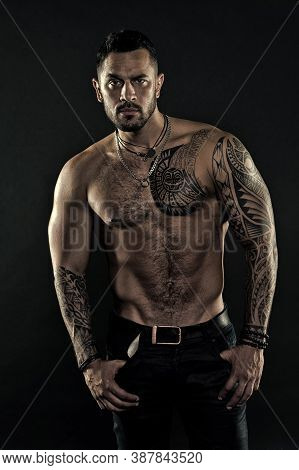 Muscular Man. Beautiful Male Torso. Sexy Athletic Guy Has Naked Body. Sportsman With Tattoo On Stron