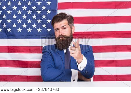 You Ready. Publicity Agent Point Finger American Flag Background. Immigration To Usa. Publicity And