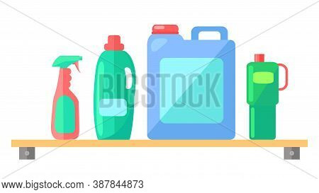 Plastic Detergent Bottles Set. Household Chemicals Containers Plastic Bottle Pack, Cleaning Housewor