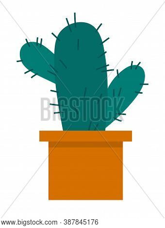 Cactus Icon In A Flat Style On A White Background. Home Plant Cactus In Pot And With Spines. Decorat