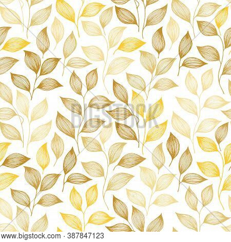 Wrapping Tea Leaves Pattern Seamless Vector. Minimal Tea Plant Bush Leaves Floral Fabric Design. Her