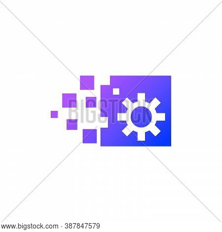 Digital Gearbox - Logo Of A Pixel Square, With A Gear In It