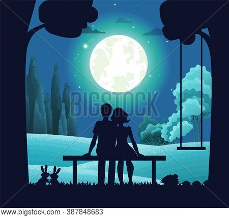 Night Forest Landscape, Young Romantic Couple Sitting On Bench Under Moonlight. Date On Moonlit Nigh