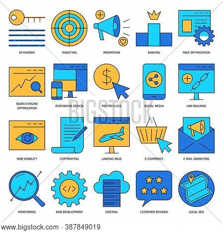 Search Engine Optimization Icon Set In Line Style