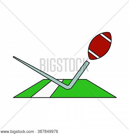 American Football Touchdown Icon. Editable Outline With Color Fill Design. Vector Illustration.