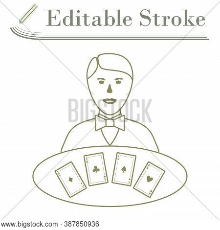 Casino Dealer Icon. Editable Stroke Simple Design. Vector Illustration.