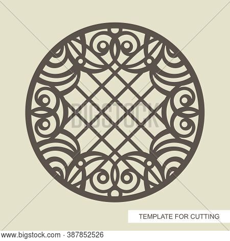 Round Frame With A Beautiful Openwork Pattern And A Lattice In The Center. Template For Laser Cuttin