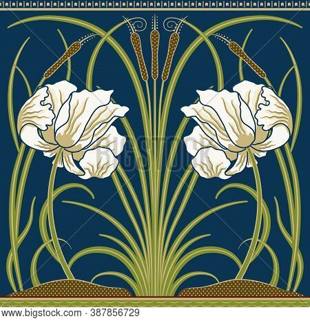 White Big Poppy And Green Reeds Decorative Border Pattern On Dark Blue Background. Middle Ages Style