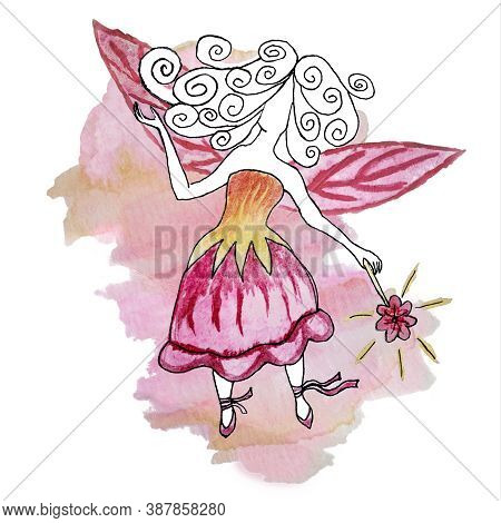 Watercolor Drawing Of A Faceless Fairy-princess In A Bellflower-dress With A Magic Wand In Her Hand