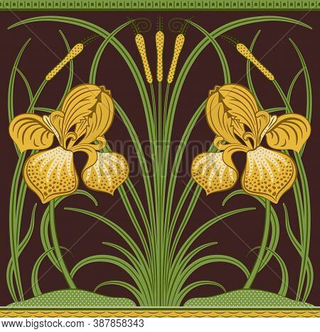 Yellow Big Irises And Green Reeds Decorative Border Pattern On Dark Brown Background. Middle Ages St