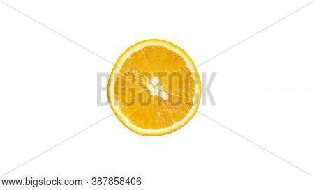 Fresh Orange With Half Sliced Isolated On White Background With Clipping Path.
