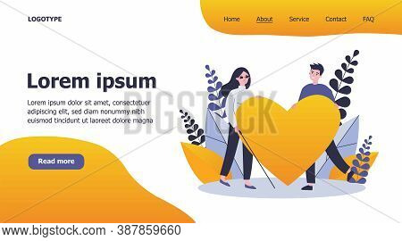 Visually Impaired Woman And Man Holding Big Heart. Romance, Care, Support Flat Vector Illustration.