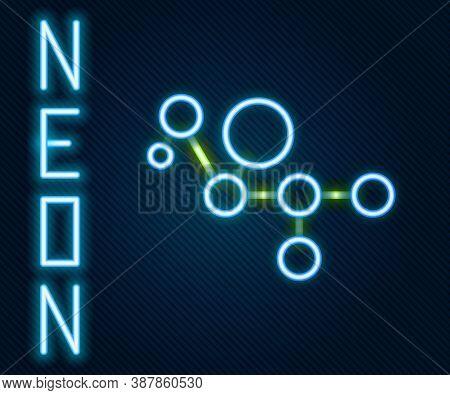 Glowing Neon Line Cannabis Molecule Icon Isolated On Black Background. Cannabidiol Molecular Structu