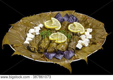 Dolma Of Grape Leaves On A Large Platter