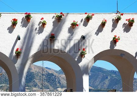 Top Of Arches With Plants In Pots Along The Balcony Of Europe (balcon De Europa), Nerja, Costa Del S
