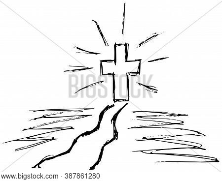 Simple Vector Grunge Sketch Of The Way To Faith. Black And White Outline Illustration Of A  Path And