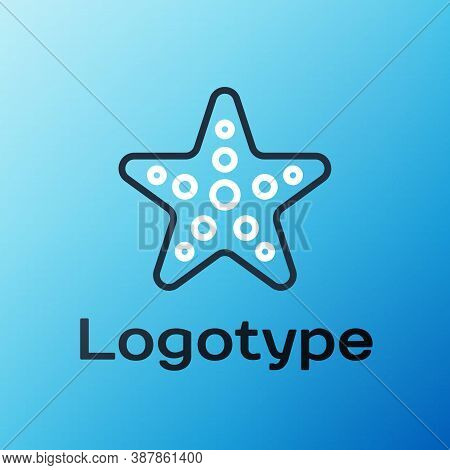 Line Starfish Icon Isolated On Blue Background. Colorful Outline Concept. Vector Illustration