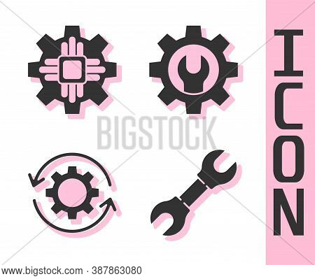 Set Wrench Spanner, Processor, Gear And Arrows As Workflow And Wrench Spanner And Gear Icon. Vector