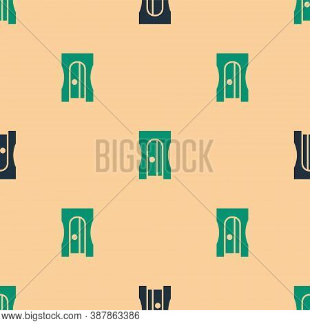 Green And Black Pencil Sharpener Icon Isolated Seamless Pattern On Beige Background. Vector Illustra