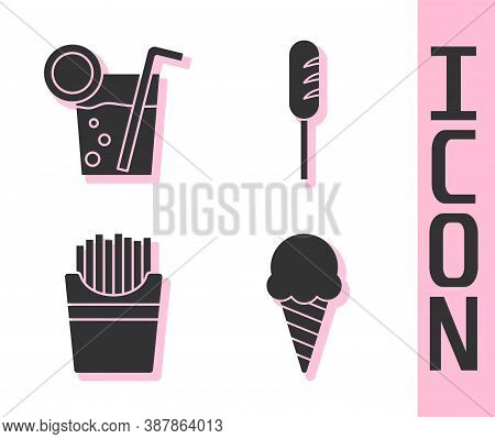Set Ice Cream In Waffle Cone, Cocktail, Potatoes French Fries In Box And Fried Sausage Icon. Vector