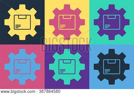 Pop Art Gear Wheel With Package Box Icon Isolated On Color Background. Box, Package, Parcel Sign. De