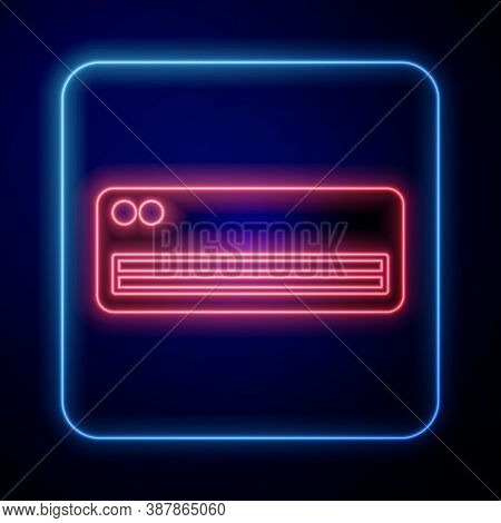Glowing Neon Air Conditioner Icon Isolated On Blue Background. Split System Air Conditioning. Cool A