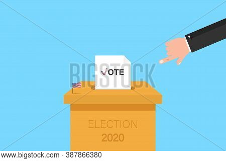 Election 2020 In Usa. Voting Ballot Inside Box. American Flag And Hand. Presidential Choice In Novem