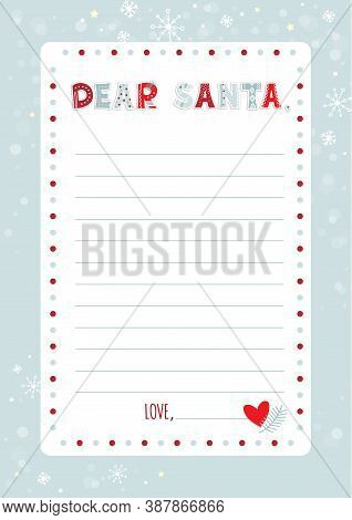 A Letter To Santa Claus Template. Cartoon Christmas Wish List With Cute Funny Alphabet In Ugly Sweat