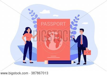 Tiny People Travelling With Foreign Passport. Flat Vector Illustration For Personal Id, Citizenship,