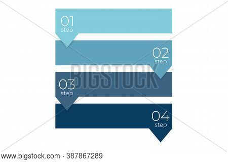 Four Steps Infographic. Information Chart In Flat Design In Square Shape. Simple Booklet Brochure Fr