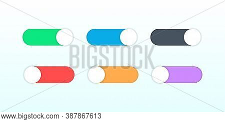 On And Off Switch Toggle. Shutdown Switcher Button. Colorful Set Of Round Toggle. Active And Inactiv