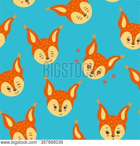 Squirrel Head In A Seamless Pattern. Winking, Smiling, Happy Squirrels. Vector Illustration In Flat