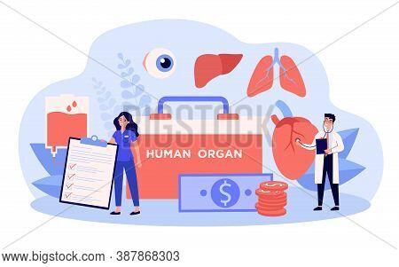 Tiny Doctors Standing Among Donors Organs, Blood Transfusion Bag, Container And Money. Vector Illust
