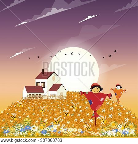 Autumn Landscape Farm Field With Cute Cartoon Smiling Scarecrow Standing On Fram Fields In Fall Seas