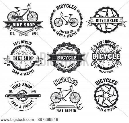 Bike Shop Emblems Set. Monochrome Labels Templates With Bicycles, Wheels And Wrenches. Vector Illust