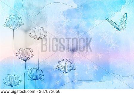 Pastel Soft Blur Blue Golden Background Stock Photo