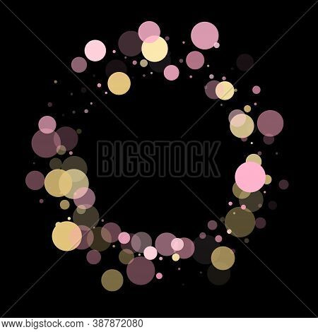 Pink Gold Confetti Circle Decoration For Christmas Banner Background. Bokeh Lights Effect Vector. Go