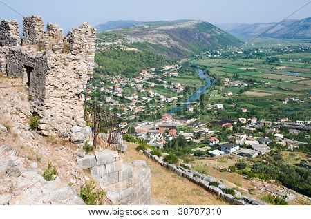 town of Lezhe and Drin River from the castle hill