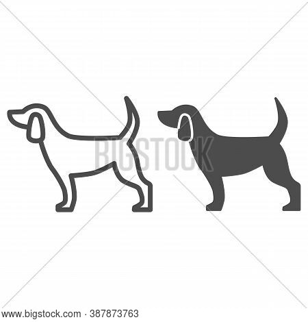 Dog Line And Solid Icon, Pets Concept, Puppy Sign On White Background, Dog Standing Silhouette Icon