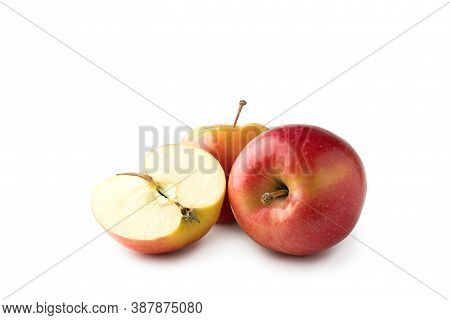 Three Fresh Red Gala Apples Isolated On White Background. Clipping Path