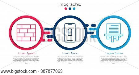 Set Line Bricks, Mobile With Closed Padlock And Paper Shredder. Business Infographic Template. Vecto