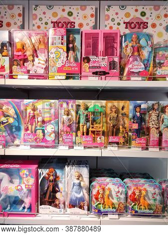 Kyiv, Ukraine - September 15, 2020: Barbie Toys For Sale In The Supermarket Stand. Barbie Is A Fashi