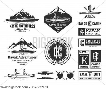 Set Of Vector Canoeing And Kayaking Logo, Badges And Design Elements
