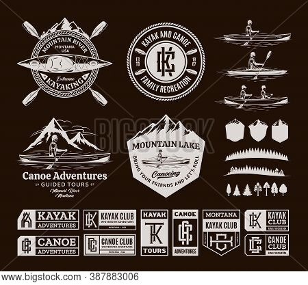 Vector Canoeing And Kayaking Logo, Badges And Design Elements