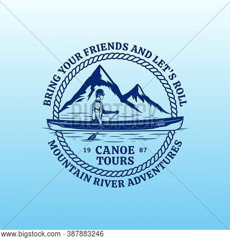 Vector Mountain River Canoe Tours Badge