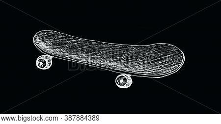 Skateboard , Longboard, Pennyboard Isolated On Black Background. Engraved Style Illustration For Pos