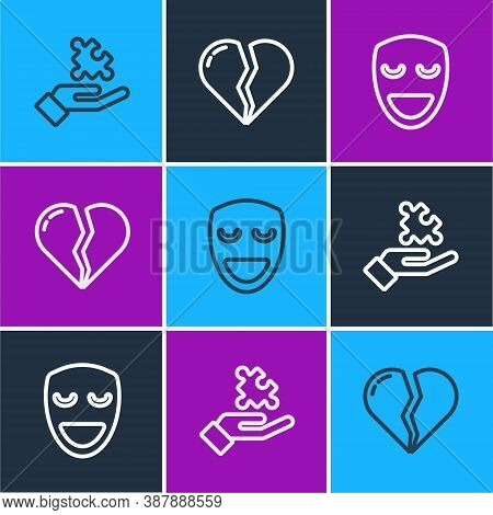 Set Line Solution To The Problem, Comedy Theatrical Mask And Broken Heart Or Divorce Icon. Vector