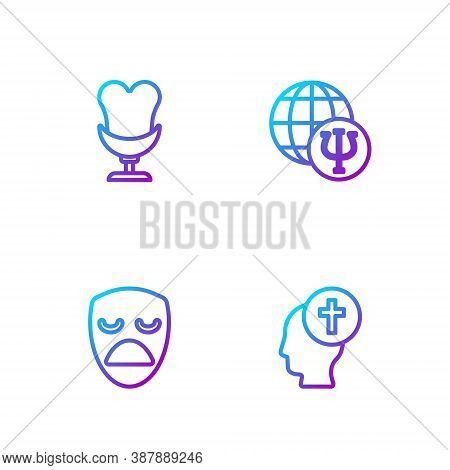 Set Line Man Graves Funeral Sorrow, Drama Theatrical Mask, Armchair And Psychology, Psi. Gradient Co