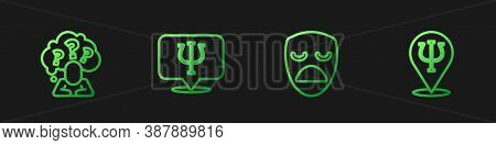 Set Line Drama Theatrical Mask, Head With Question Mark, Psychology, Psi And . Gradient Color Icons.