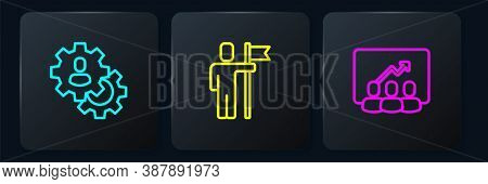 Set Line Head Hunting, Project Team Base And Team Leader. Black Square Button. Vector